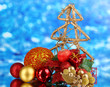 Composition of Christmas balls on blue background