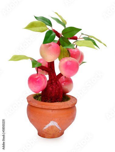 fruits (artificial) isolated on white background