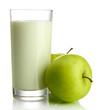 Glass of kefir and green apples, isolated on white