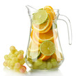 transparent jar with citrus fruits and grape, isolated on white