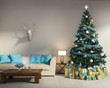 Decorated Christmas tree with gifts, sofa, table, interior