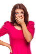woman surprised terrified experiences fear covered her mouth wit