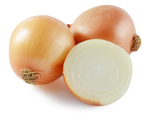 Fresh onion bulbs isolated on white background, clipping path in