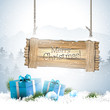 Christmas winter landscape with wooden sign