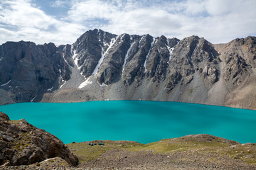 Mountaineering camp at Ala-Kul lake in Kyrgyzstan