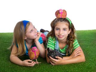 breeder hens kid sister farmer girls having fun with chicken chi