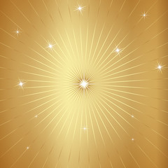 Vector Gold Background with Stars and Rays