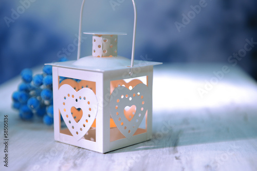 Christmas lantern  on light background
