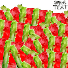 background art hand green red watercolour brush texture isolated
