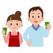 青汁を飲む夫婦