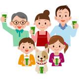 青汁を飲む家族