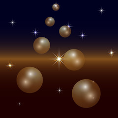 Vector Abstract Background with Planets and Stars