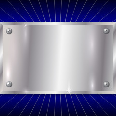 Vector Metallic Silver Plate on Blue Background