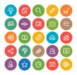 Outlines SEO Icon Set, colorful circle on white