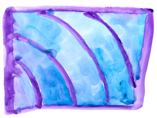 table chart stroke blue, purple paint brush watercolor isolated