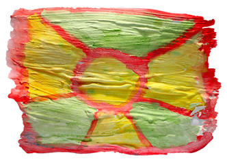 table green, yellow, red chart stroke paint brush watercolor iso