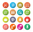Business and media icon set, colorful circle series