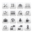 Business and media icon set, gray 2 dimension series