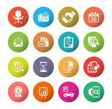 Office and media icon set, colorful circle series