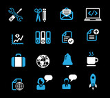Business and media icon set, white - blue series