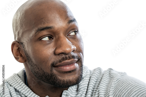 Handsome black man looking over shoulder