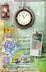 Pachtwork background with stamps and clock
