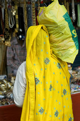 woman, yellow saree, textile, Rajasthan, India