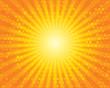 Sun Sunburst Pattern with squares. Orange sky.