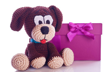 stuffed animal puppy dog in a gift box for christmas