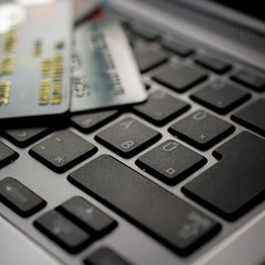 Concept of online shopping with keyboard and credit card