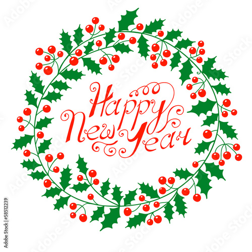 Christmas wreath with the wish a Happy New Year