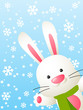 Funny rabbit on winter background