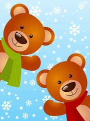 Funny bears on winter background