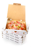 Fototapety Pepperoni pizza in a takeaway pizza box