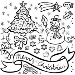 biało czarny zestaw motywów świątecznych choinka bałwan gwiazda
