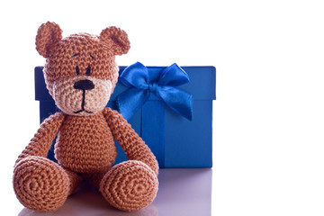 christmas teddy bear with gift box