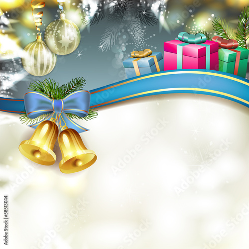Christmas bells with gifts