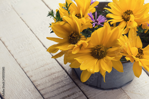 Autumn flowers in bowl