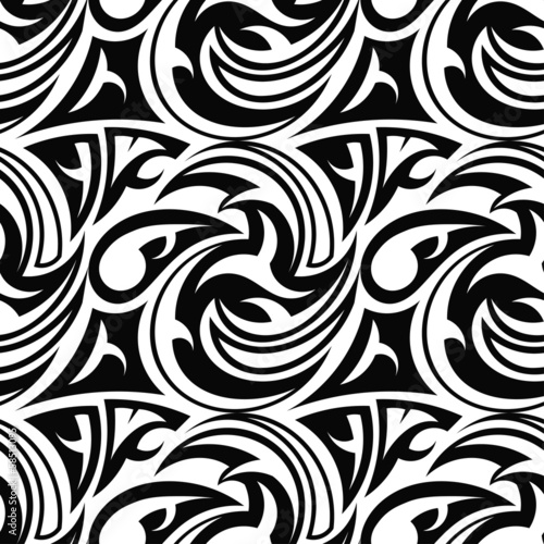 Black and white seamless texture tribal