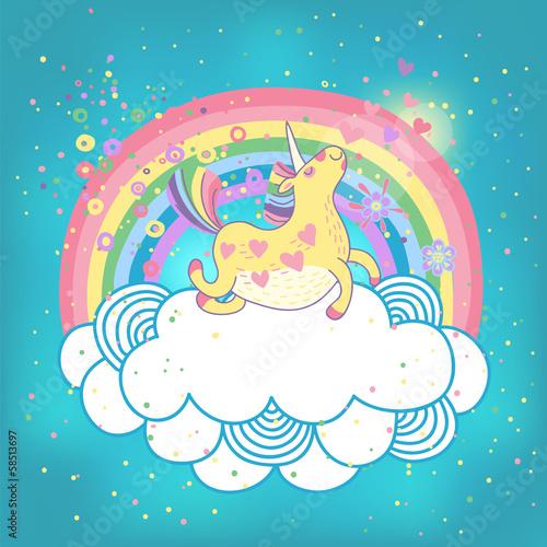 Fototapeta Unicorn rainbow in the clouds