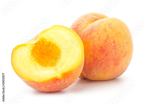 Ripe peach fruit isolated on white background