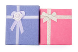 top view purple and pink gift boxes with clipping path