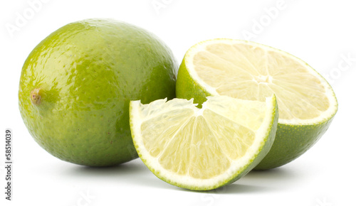 Fresh lime fruit Isolated on white background