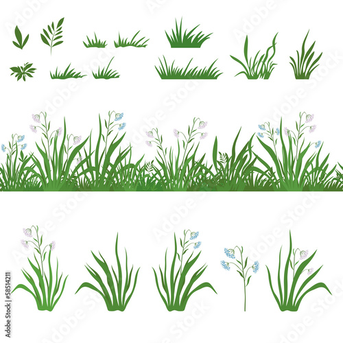 Grass and flowers, seamless and sets