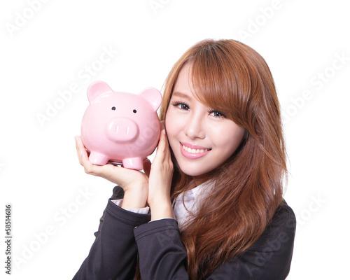 Piggy bank savings woman smiling happy