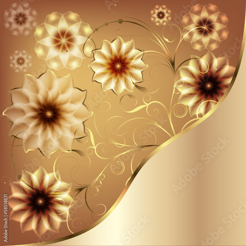 Beautiful flowers greeting with gold monograms and flowers