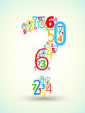 Question mark , colored vector font from numbers