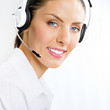 Female support phone operator