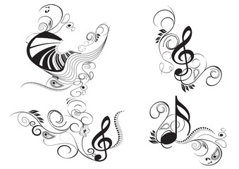 set of music key notes with floral elements