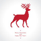 Winter holidays greeting card with red pixel reindeer